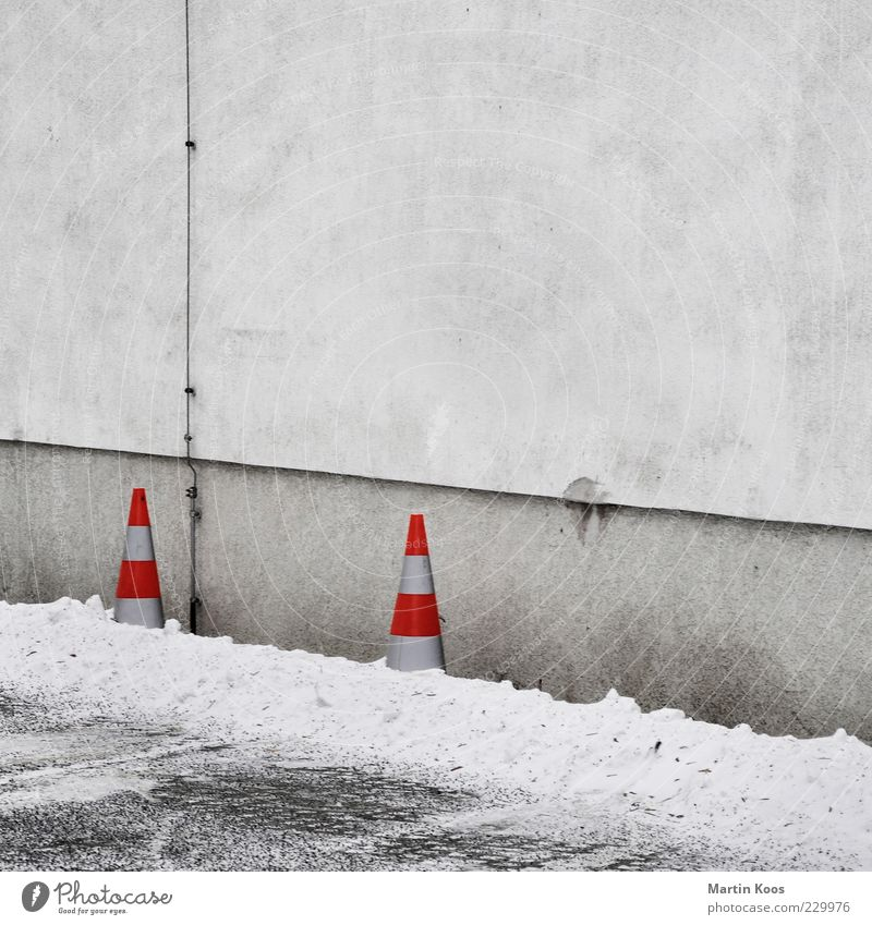 Winter adé Climate Weather Ice Frost Snow Facade Signs and labeling Cold Skittle Barrier Parking lot Parking space Clearway Gray White Red Minimalistic 2