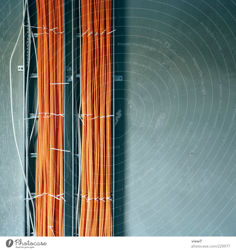 Wall (building) Wall (barrier) Line Orange Facade Concrete Beginning Energy Authentic Future Cable Construction site Stripe Technology Internet