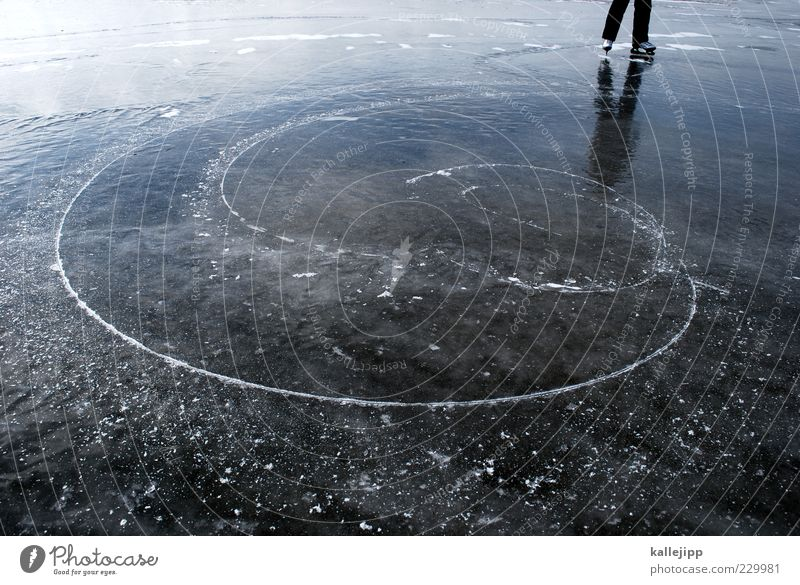 Human being Winter Far-off places Freedom Lake Legs Feet Ice Leisure and hobbies Climate Trip Stand Circle Lifestyle Frost Curve