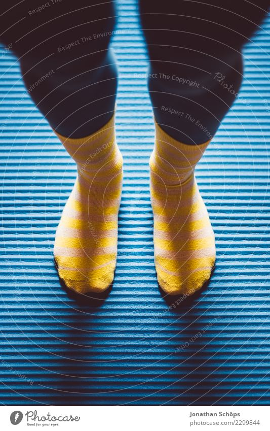 Blue-yellow gymnastics IV Style Healthy Calm Sports Yoga Woman Adults Legs Feet Stockings Movement Fitness Stand Athletic Uniqueness Yellow Attentive Break
