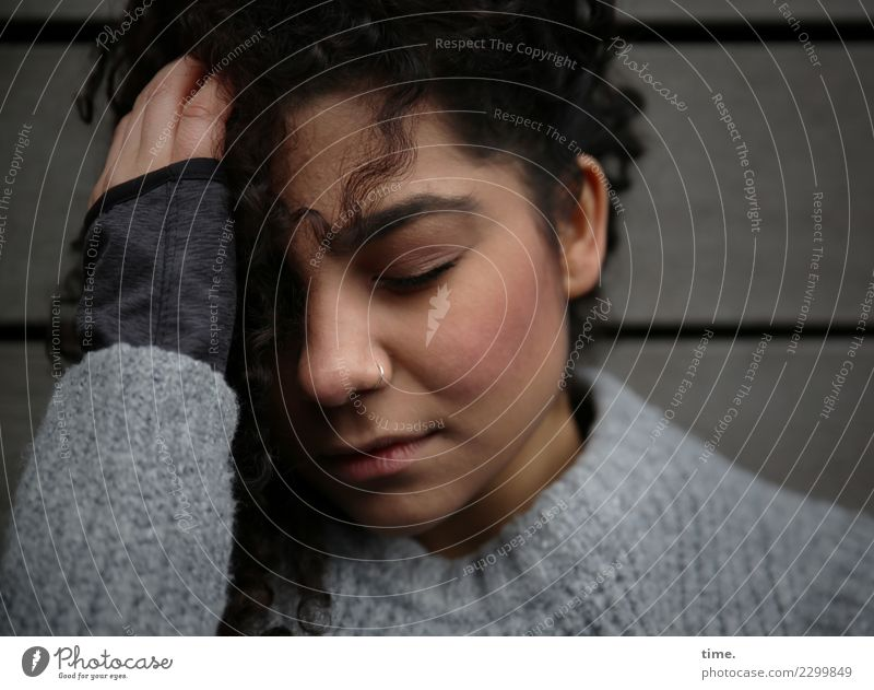 Woman Human being Beautiful Relaxation Adults Wall (building) Sadness Feminine Time Wall (barrier) Dream To hold on Sweater Disappointment