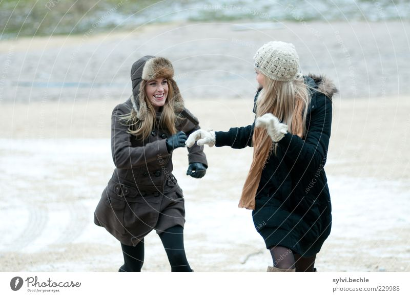 Human being Youth (Young adults) Beautiful Joy Winter Feminine Life Emotions Hair and hairstyles Movement Happy Laughter Friendship Together Walking Running