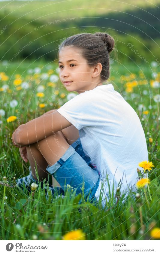 summer meadow Child Girl Infancy 1 Human being 8 - 13 years Nature Summer Flower Grass Dandelion Meadow Flower meadow T-shirt Jeans Observe Think Smiling Dream