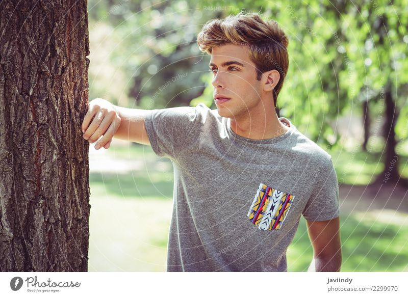 young handsome man with modern hairstyle Human being Youth (Young adults) Man Summer Young man White Eroticism 18 - 30 years Face Adults Lifestyle Autumn Style