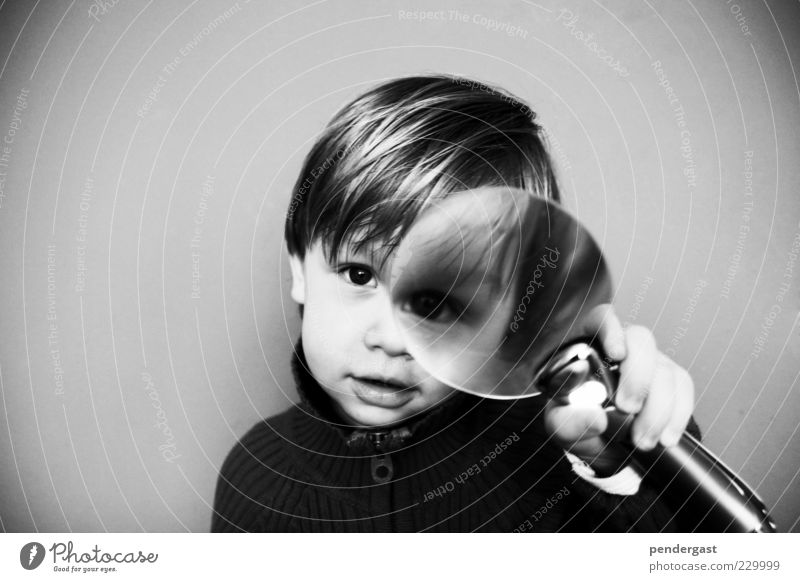 Human being Child Boy (child) Gray Head Beginning Adventure Perspective Observe To hold on Curiosity Toddler Idea Enthusiasm Black & white photo Lens