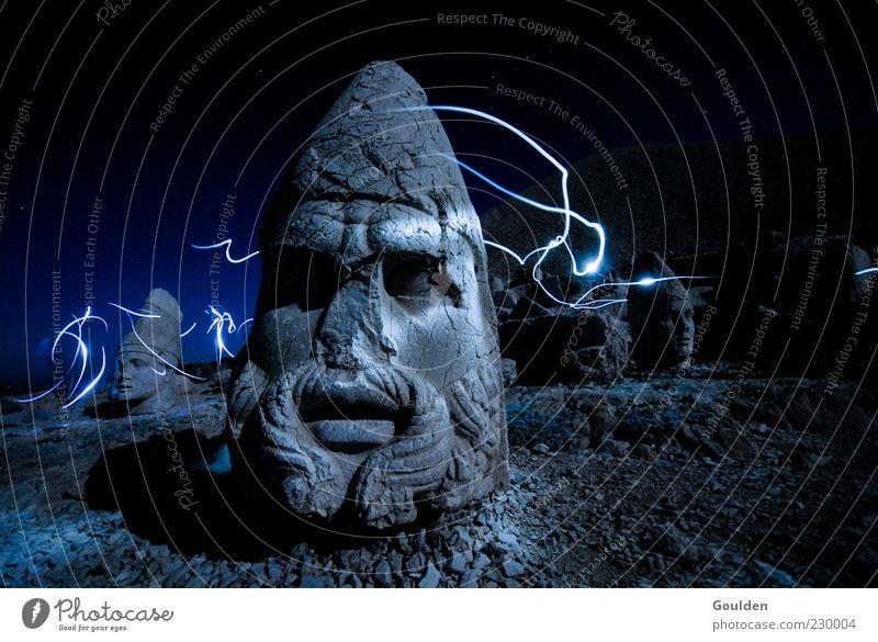 Old Dark Mountain Movement Head Religion and faith Stone Dream Art Masculine Energy Adventure Exceptional Illuminate Might Mysterious