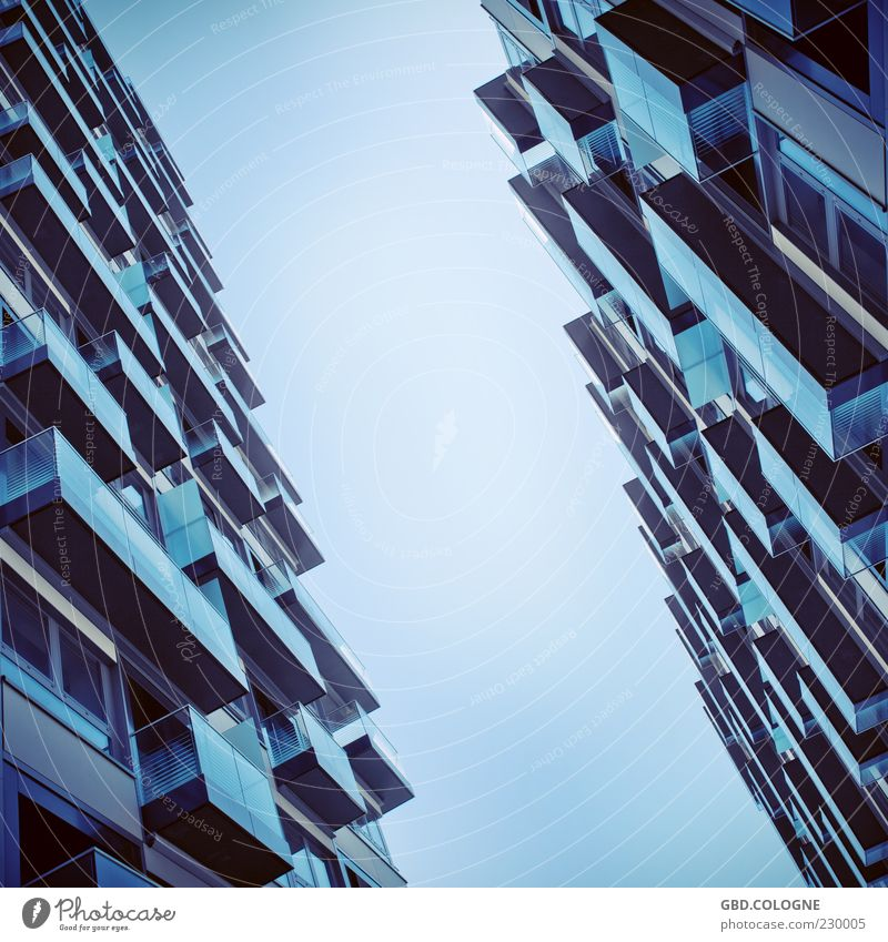 Sky Blue City House (Residential Structure) Window Architecture Building Metal Glass Flat (apartment) Facade Concrete Large Modern High-rise
