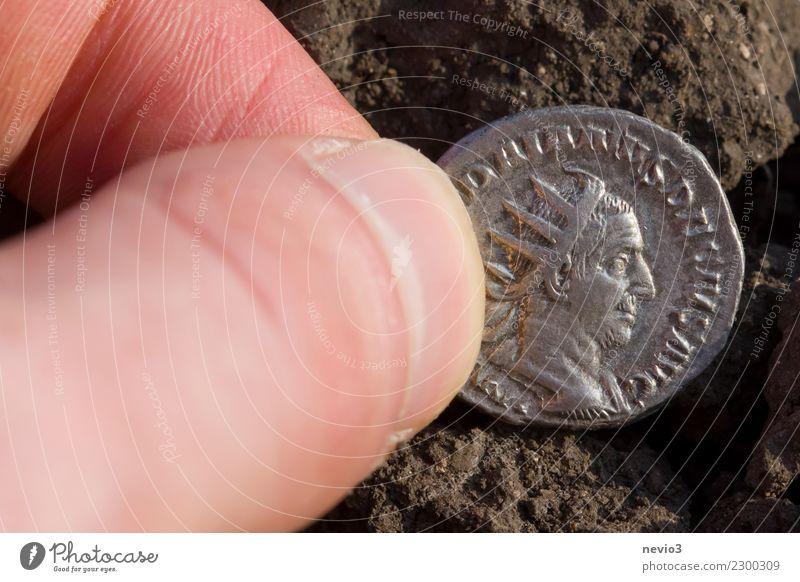 Roman coin Business Coin Money Historic Silver Caesar Roman coins Rome Old Old coins silver coin Roman Empire Treasure treasure trove denarius Colour photo