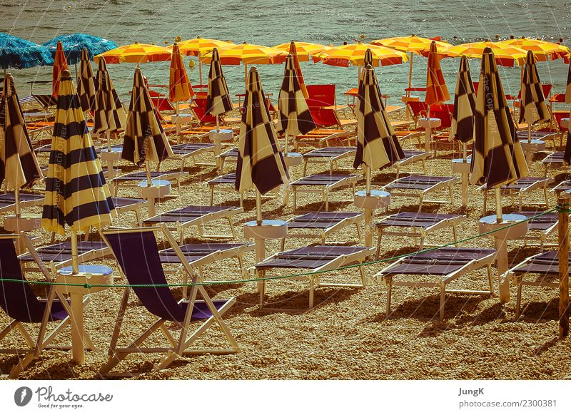 in expectation Leisure and hobbies Vacation & Travel Tourism Beach Ocean Summer Retro Longing Sadness Loneliness Nostalgia Symmetry Past Transience Italy