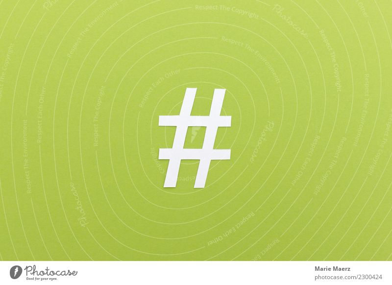 Hashtag made of paper Internet Sign diamond hash day Communicate To talk Write Simple Modern Green Power Might Network Media Online Keyword topic Paper meta