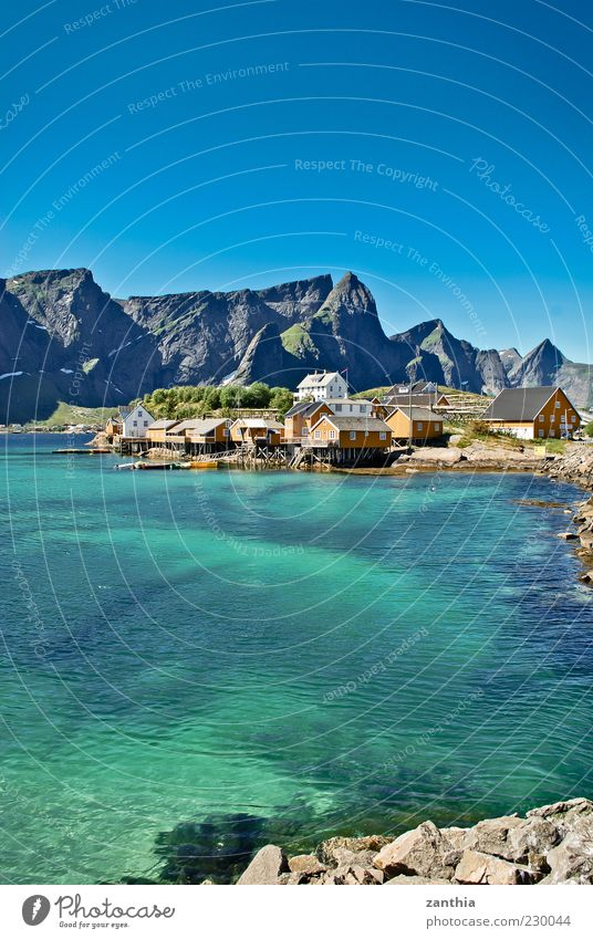 Blue Water Ocean Calm Relaxation Landscape Mountain Coast Idyll Village Bay Turquoise Norway Surface of water House (Residential Structure) Blue sky