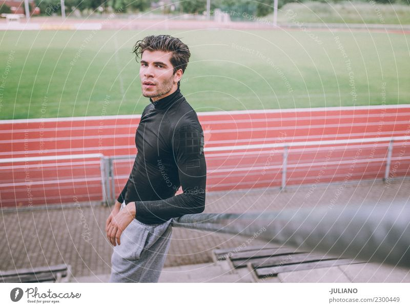 Young sports mat standing staircase infront of running track Drinking water Lifestyle Joy Body Healthy Healthy Eating Health care Athletic Muscular Fitness