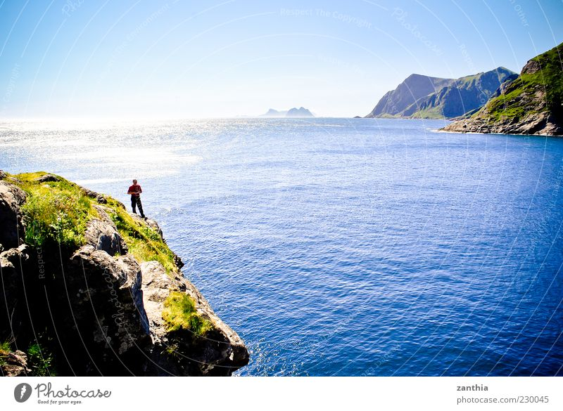Human being Sky Blue Water Ocean Summer Far-off places Landscape Coast Island Stand North Sea Beautiful weather Bay Vantage point Edge