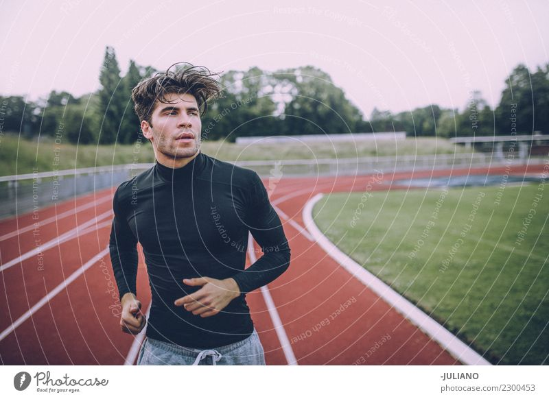 Young sports man exercising at running track Drinking water Lifestyle Joy Body Healthy Healthy Eating Health care Athletic Fitness Well-being Contentment Sports