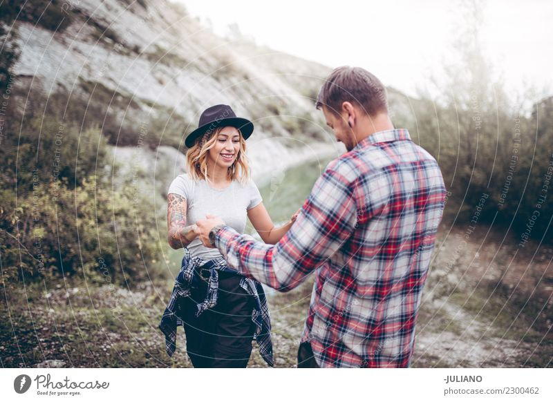 Young couple enjoying the time in the nature Lifestyle Vacation & Travel Trip Adventure Far-off places Freedom Camping Mountain Hiking Human being Couple