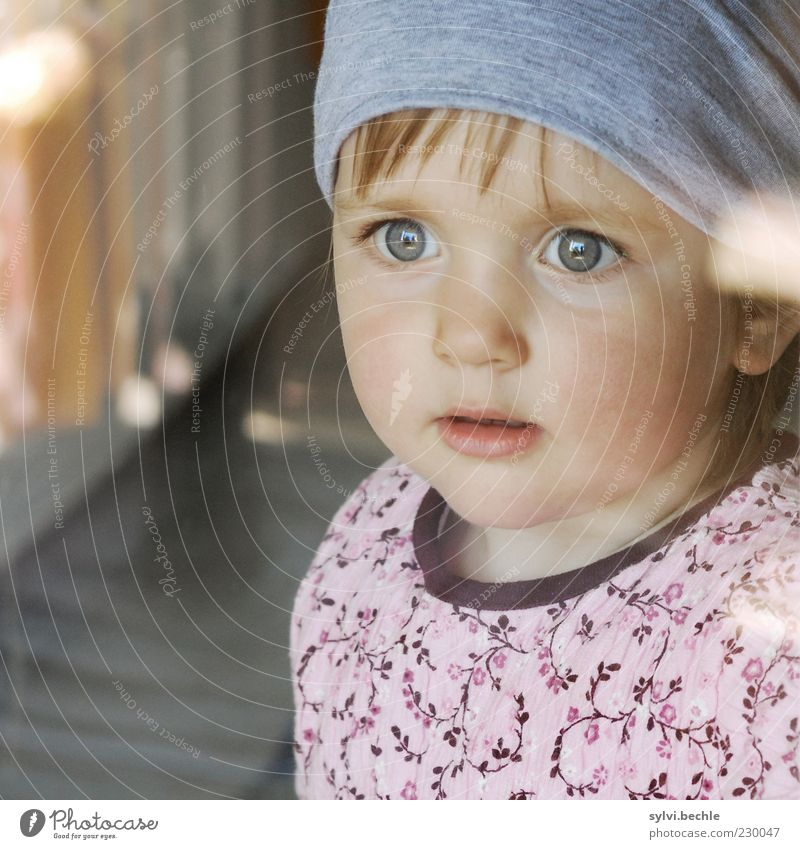 Child Girl Face Eyes Life Dream Infancy Wait Hope Safety Observe Curiosity Dress Protection Longing Toddler