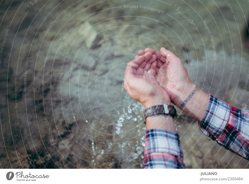 Close up of hands clean water for drinking in the nature Nature Drinking Nutrition Dehydrate Human being Water Drinking water Fluid Fountain Source Lake