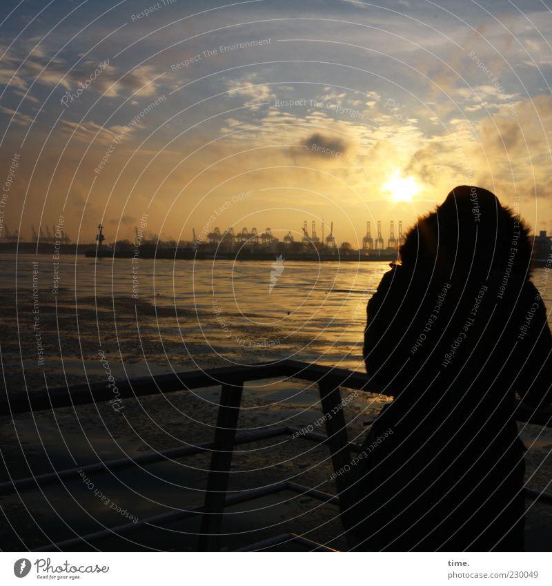 Hämborch, moine Pärle Industry Woman Adults Sky Clouds Horizon Harbour Moody Joie de vivre (Vitality) Romance Serene Patient Calm Wanderlust Contentment