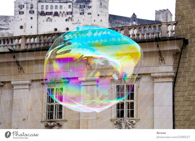 peppy | over the roofs Sightseeing City trip Salzburg Palace Castle Renaissance Facade Tourist Attraction Soap bubble Sphere Flying Glittering Tall Round