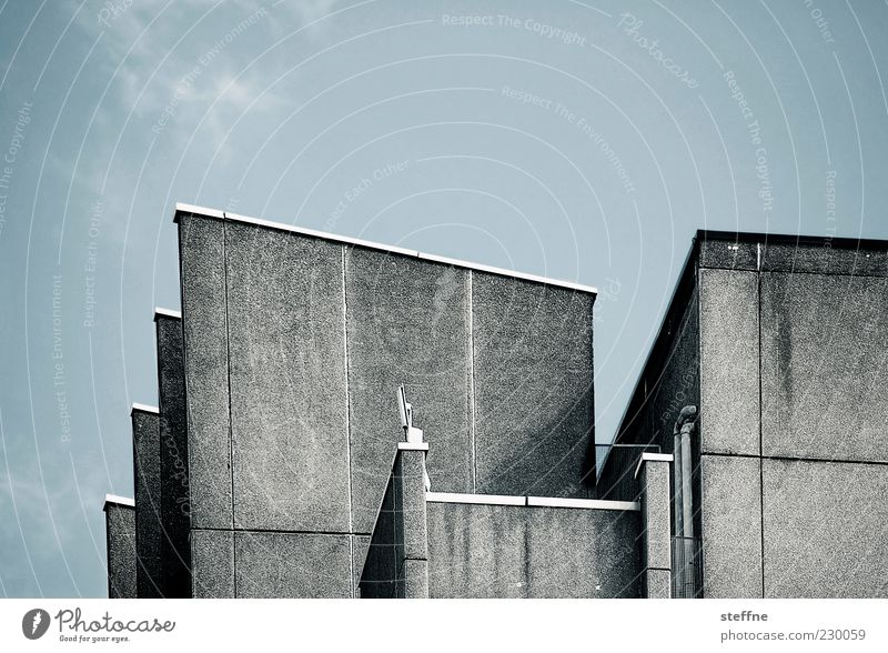 House (Residential Structure) Wall (building) Architecture Wall (barrier) Facade Concrete Gloomy Sharp-edged Clouds in the sky