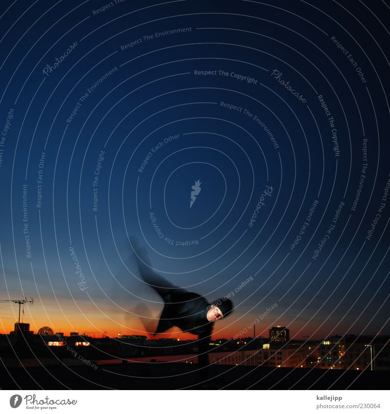 Night on earth Human being Masculine Man Adults Life 1 Town Capital city Skyline Jacket Jump Light Sunset Antenna Parkour Panorama (View) Colour photo