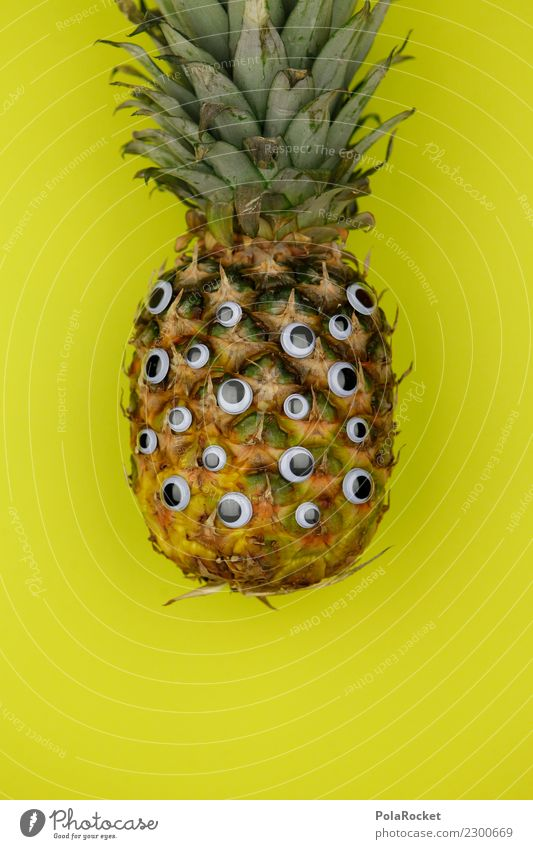 #AS# Pineapple Spy Food Laughter Eyes Creativity Fruit Diet Pound Yellow Exotic Tropical fruits Vitamin Lean Fresh Facial expression Stupid Healthy Eating