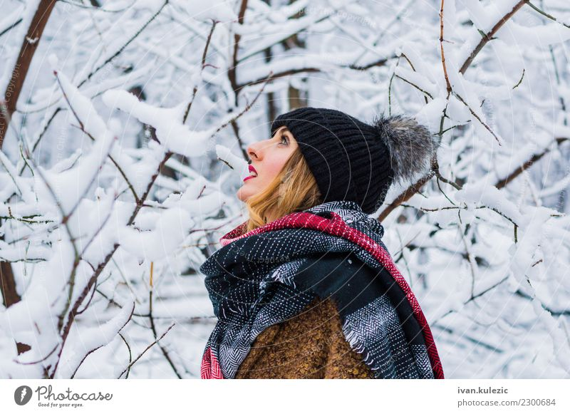 Beautiful blonde girl, walking through winter forest Woman Human being Nature Youth (Young adults) White Joy Winter Forest 18 - 30 years Face Adults Lifestyle