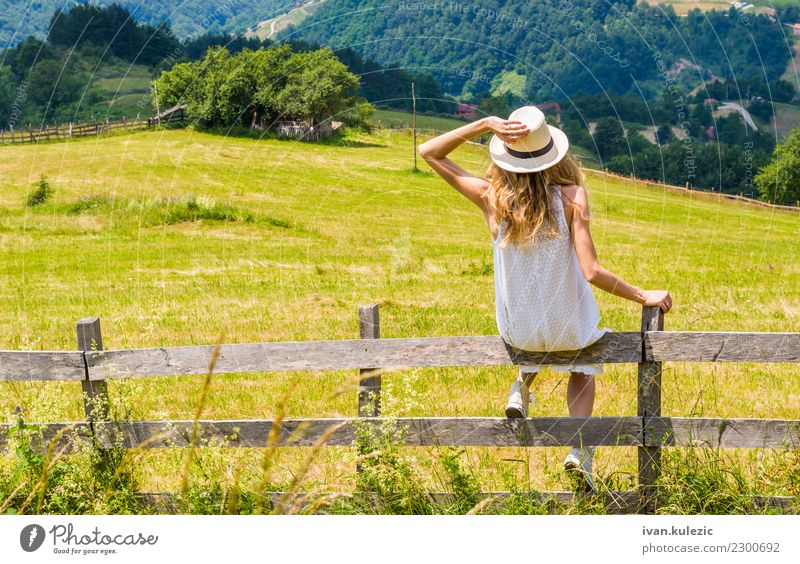Blonde girl enjoys the view Woman Human being Sky Nature Vacation & Travel Youth (Young adults) Summer Beautiful Landscape White Mountain 18 - 30 years Adults
