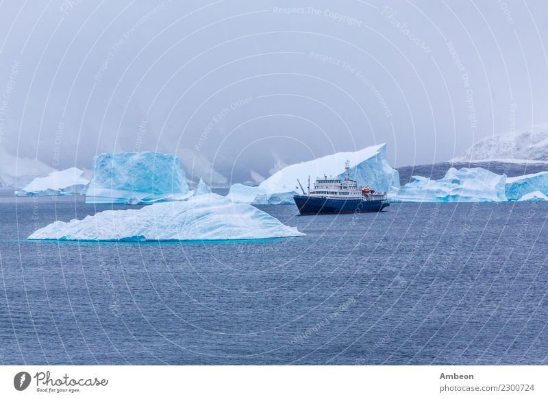 Snowfall and cruise liner among blue icebergs in Port Charcot Nature Vacation & Travel Blue Landscape Ocean Clouds Winter Far-off places Mountain Environment