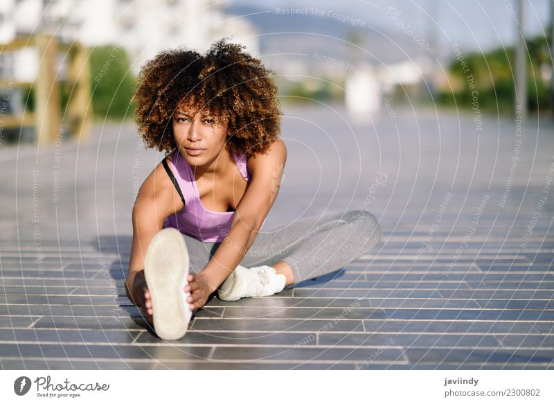 Black woman stretching after running outdoors Woman Human being Youth (Young adults) Young woman Beautiful 18 - 30 years Adults Street Lifestyle Sports