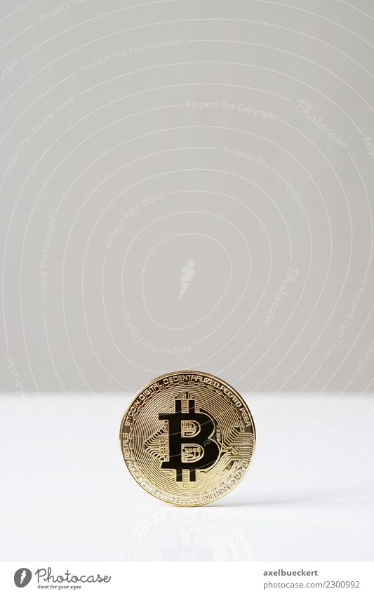 Bitcoin coin with text space Economy Financial Industry Stock market Business Information Technology Internet Hip & trendy Cryptocurrency Media hype