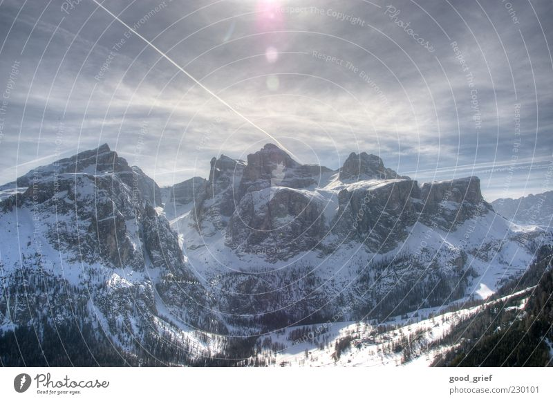 Snow Emotions Mountain Ice Contentment Frost Travel photography Alps Italy Peak Beautiful weather Snowcapped peak Lens flare Dolomites South Tyrol Polaroid