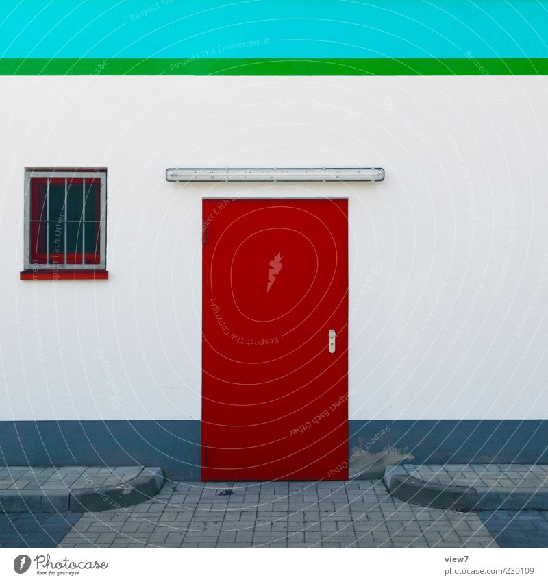 Green White Red Window Wall (building) Architecture Stone Building Wall (barrier) Metal Line Door Facade Concrete Fresh