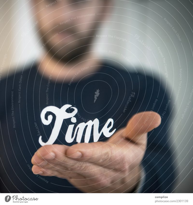 Time given! Healthy Relaxation Calm Vacation & Travel Work and employment Profession Workplace Office Logistics Business Man Adults Face Arm Hand Characters