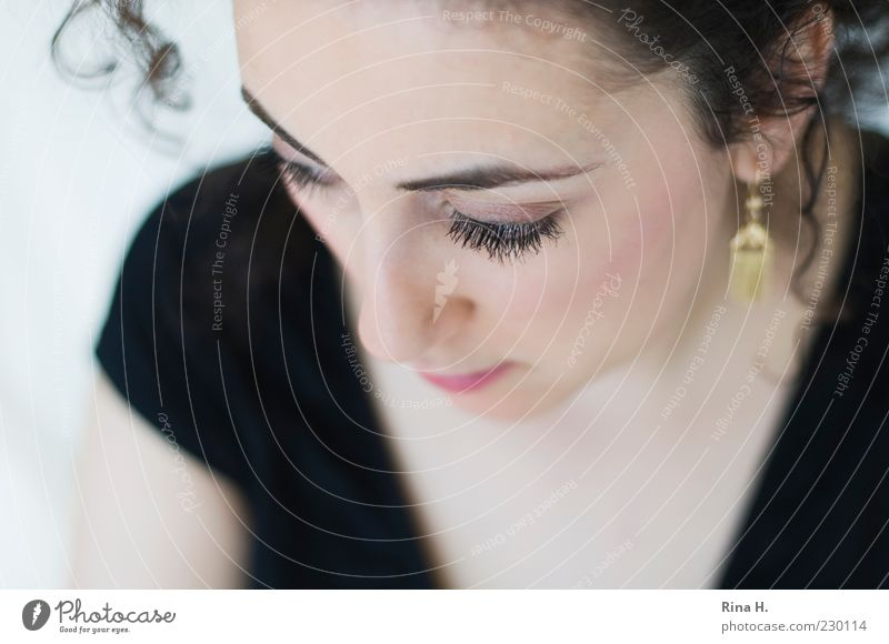 Human being Youth (Young adults) Beautiful Adults Eyes Feminine Emotions Think Meditative 18 - 30 years Curl Young woman Eyelash Eyebrow Earring Woman