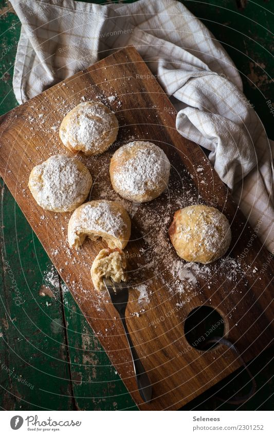 schlecker Food Grain Dough Baked goods Cake Dessert Donut Confectioner`s sugar Nutrition Eating To have a coffee Fork Delicious Sweet Baking Interior shot