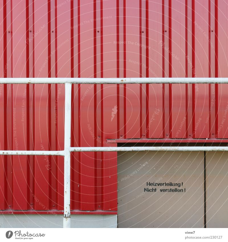 Old Red Loneliness Colour Wall (building) Building Wall (barrier) Metal Line Door Facade Fresh Modern Authentic Characters Stripe