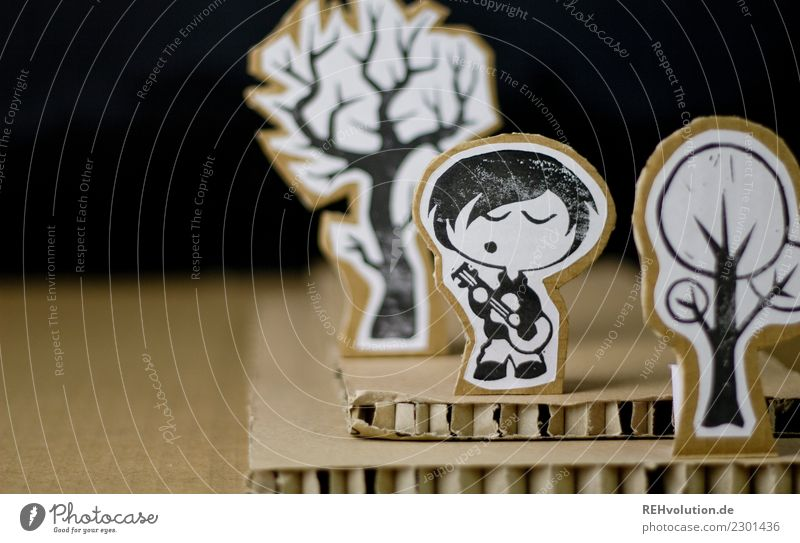 Pappland - Boy with guitar Young man Singer Cardboard Comic strip character Musical instrument Hip & trendy Exceptional Adults Youth (Young adults)