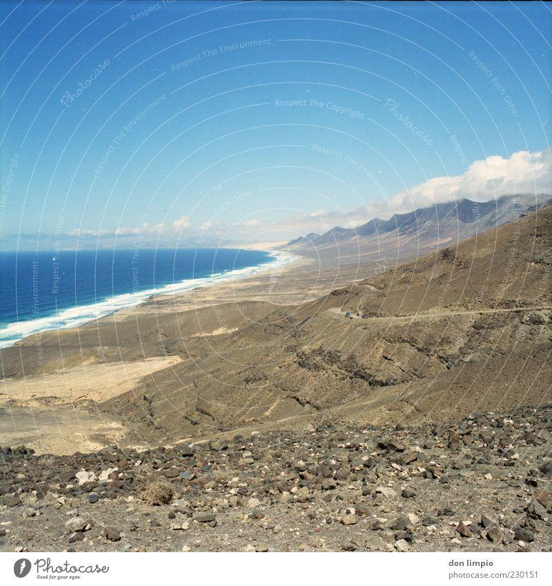 Blue Ocean Summer Beach Clouds Far-off places Landscape Mountain Warmth Stone Coast Moody Bright Horizon Tall Island