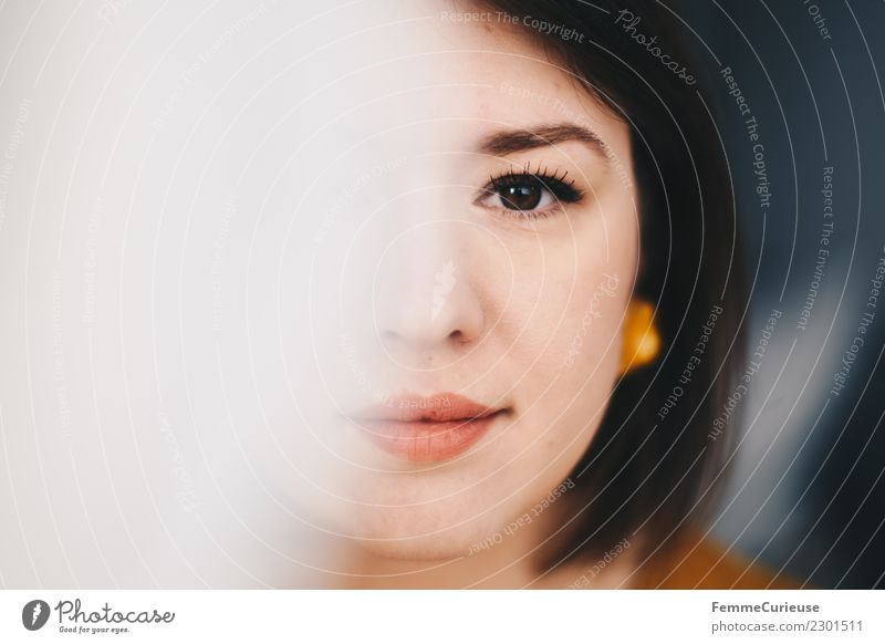 Half of the face of a beautiful young woman Elegant Style Feminine 1 Human being 18 - 30 years Youth (Young adults) Adults Beautiful Face Concealed