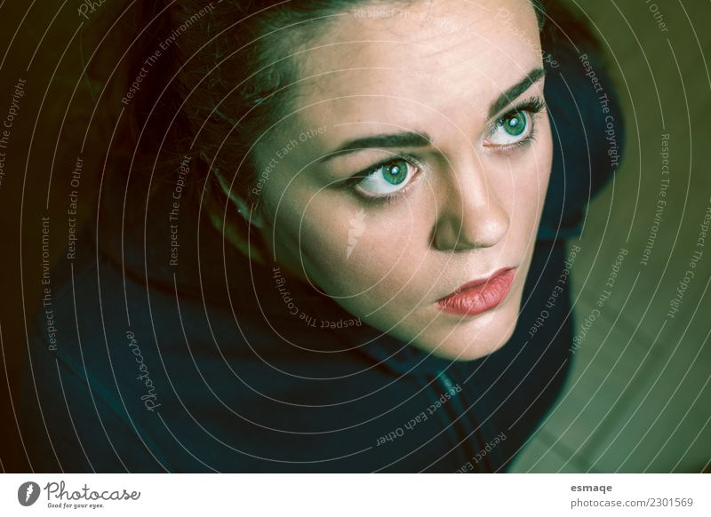 Portrait of surprised woman from above Human being Feminine Young woman Youth (Young adults) Woman Adults Observe Advice Fantastic Uniqueness Natural Crazy