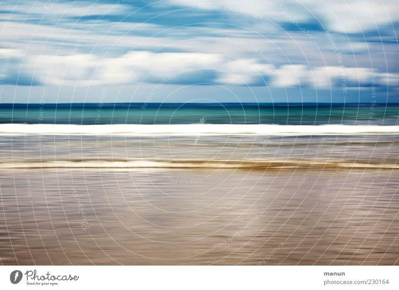 time flies Nature Landscape Elements Sand Water Sky Clouds Summer Beautiful weather Waves Coast Beach Ocean Fantastic Wanderlust Surrealism Colour photo
