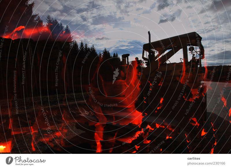 Red Black Forest Dark Warmth Energy Fire Dangerous Exceptional Illuminate Threat Technology Elements Asphalt Hot Burn