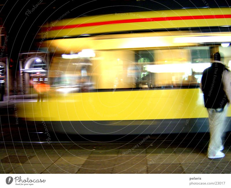 streetcar Yellow Tram Photographic technology Human being