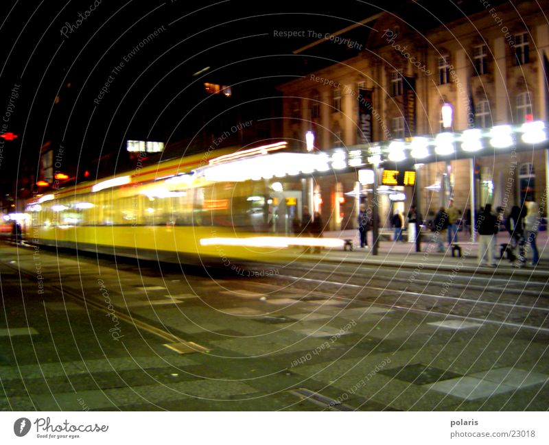 tram in karlsruhe Tram Karlsruhe Night Photographic technology europe square Light
