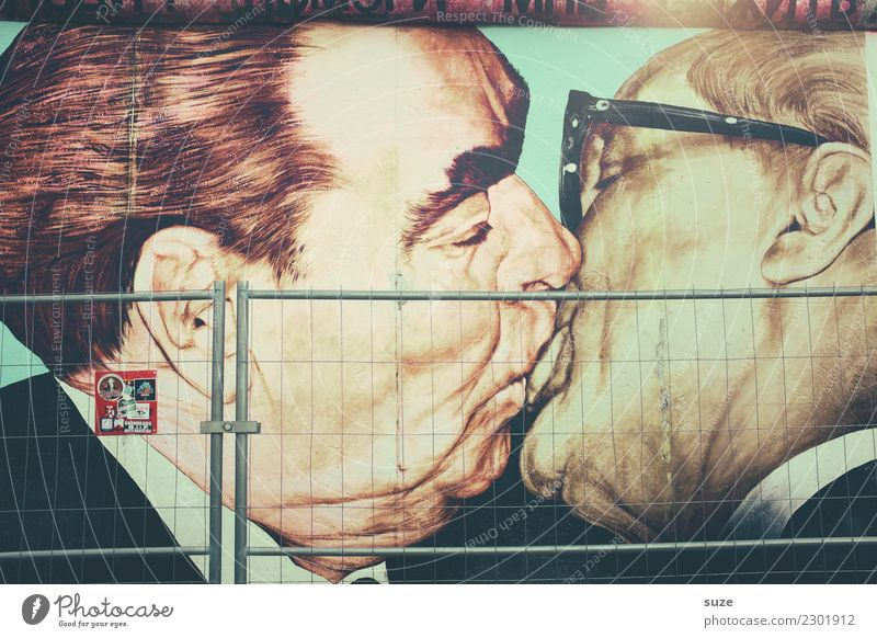 Berlin Art Friendship Tourist Attraction Fence Image Kissing Drawing Politics and state GDR Welcome Communism Brother Ritual Socialism Soviet Union