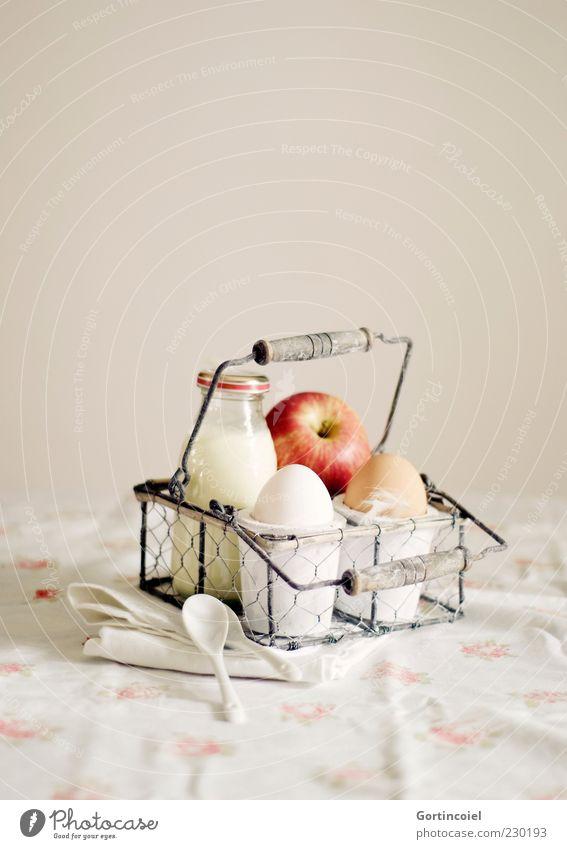 Nutrition Food Fruit Fresh Retro Apple Breakfast Bottle Egg Organic produce Nostalgia Picnic Milk Bowl Vintage