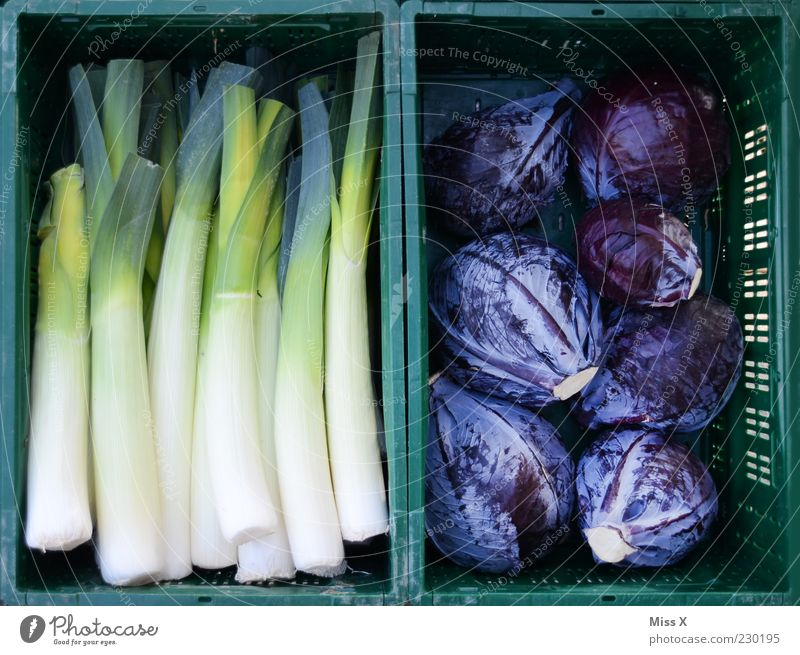 Green and Blue Food Vegetable Organic produce Fresh Leek Cabbage Red cabbage Farmer's market Vegetable market Fruit- or Vegetable stall Crate Colour photo
