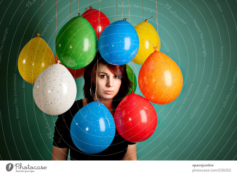 Human being Youth (Young adults) Loneliness Adults Face Eyes Feminine Hair and hairstyles Sadness Dream Feasts & Celebrations Birthday Decoration Balloon