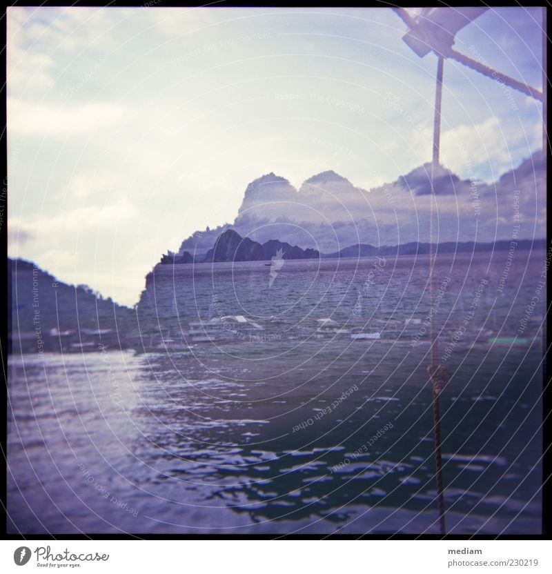 Sky Water Summer Ocean Far-off places Coast Freedom Watercraft Rock Waves Island Rope Discover Navigation Double exposure Surface of water